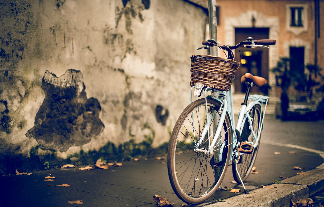 Photo wallpaper bike, house, wall, street, the building, blur, border