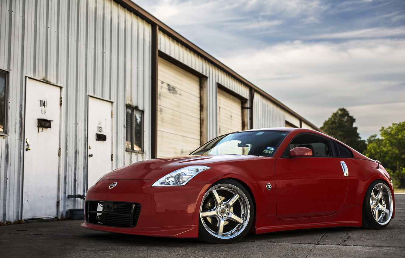 Photo wallpaper nissan, red, 350