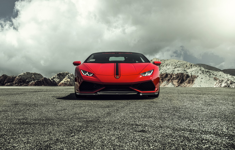 Photo wallpaper Lamborghini, Red, red, Lamborghini, 2015, LP 610-4, Huracan, hurakan