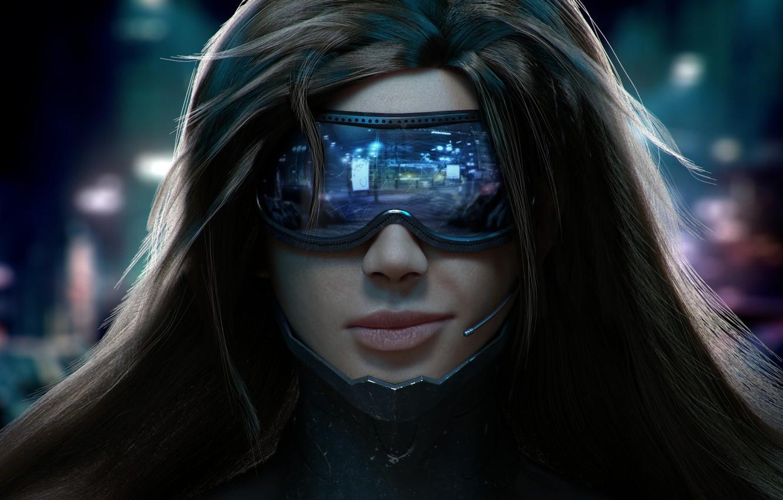Photo wallpaper girl, face, smile, hair, glasses, microphone, Cyberpunk