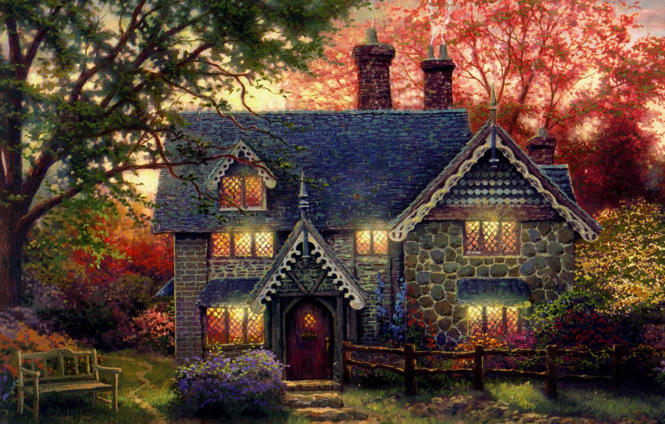 Photo wallpaper house, the evening, shop, painting, cottage, art, bench, the light in the Windows, Thomas Kinkade, …