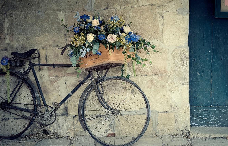 Photo wallpaper BIKE, FLOWERS, WALL