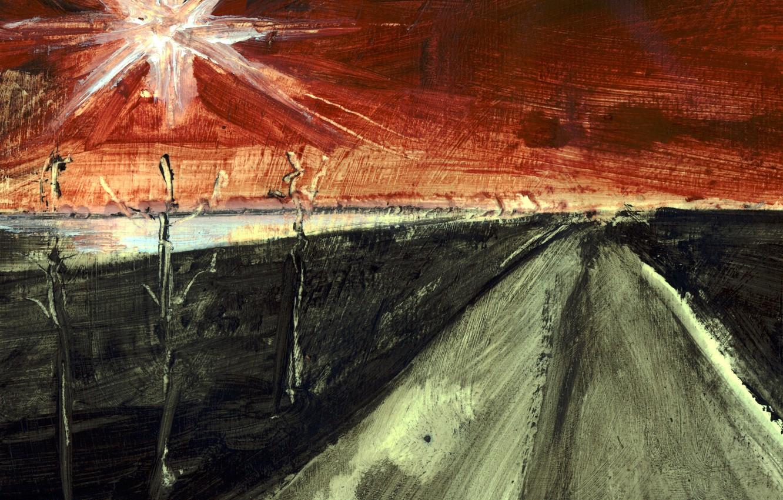 Photo wallpaper road, picture, watercolor