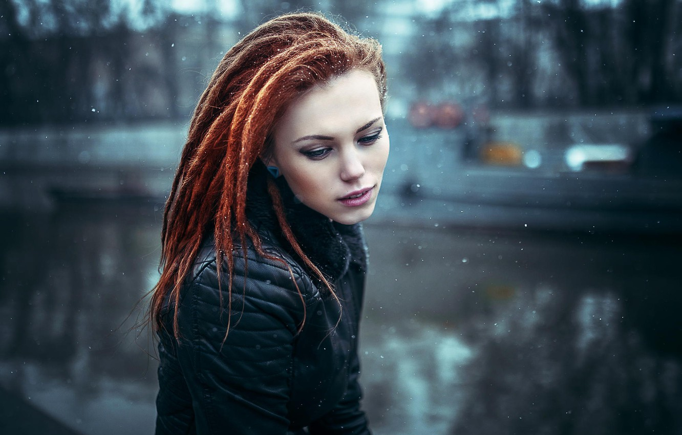 Photo wallpaper snow, jacket, redhead, girl Natasha