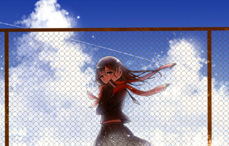 Photo wallpaper the sky, girl, clouds, the fence, anime, scarf, art, kagerou project, ayano tateyama, Mekakucity Actors, …