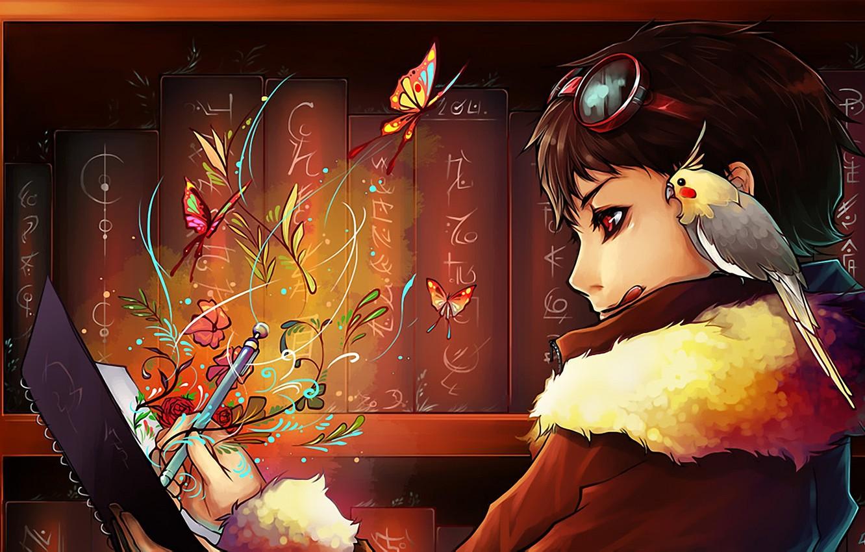 Photo wallpaper butterfly, flowers, bird, books, boy, art, glasses, parrot, notebook, draws, udonnodu, KARELA