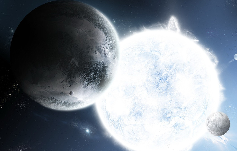 Photo wallpaper star, satellite, Planet