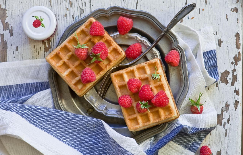 Photo wallpaper berries, raspberry, towel, plug, waffles