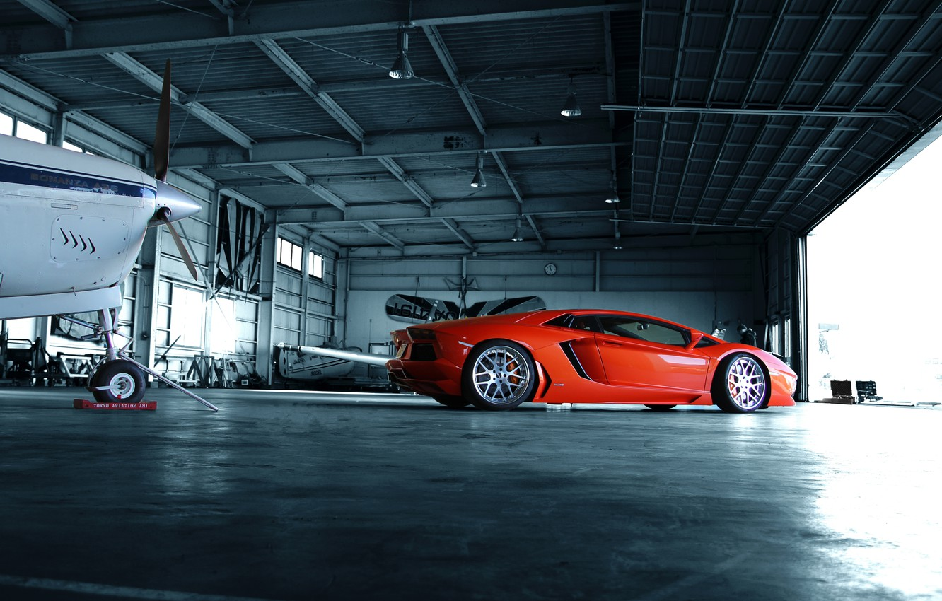 Photo wallpaper orange, hangar, profile, lamborghini, drives, orange, aventador, lp700-4, Lamborghini, aventador