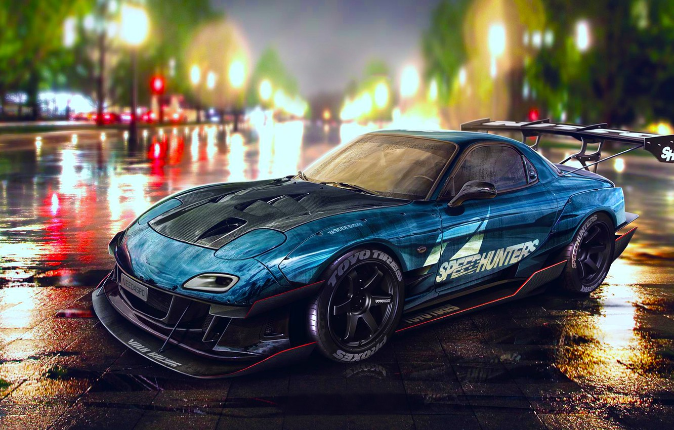 Photo wallpaper Mazda, Drift, Car, Blue, RX-7, Speedhunters, Nigth, YASIDdesign