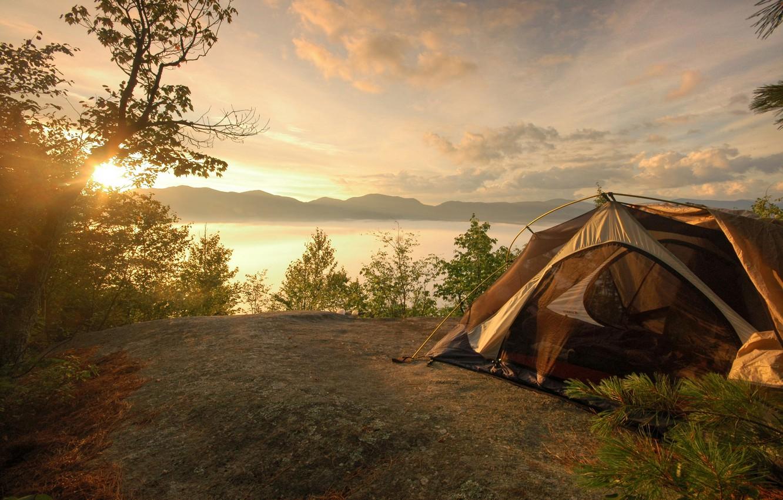 Photo wallpaper landscape, mountains, tent, hike