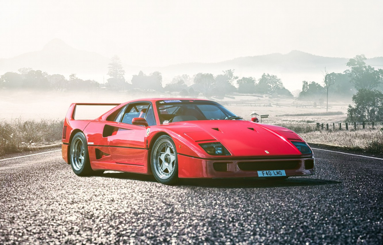 Photo wallpaper Ferrari, Red, F40, Car, Front, Legend, Road, Supercar