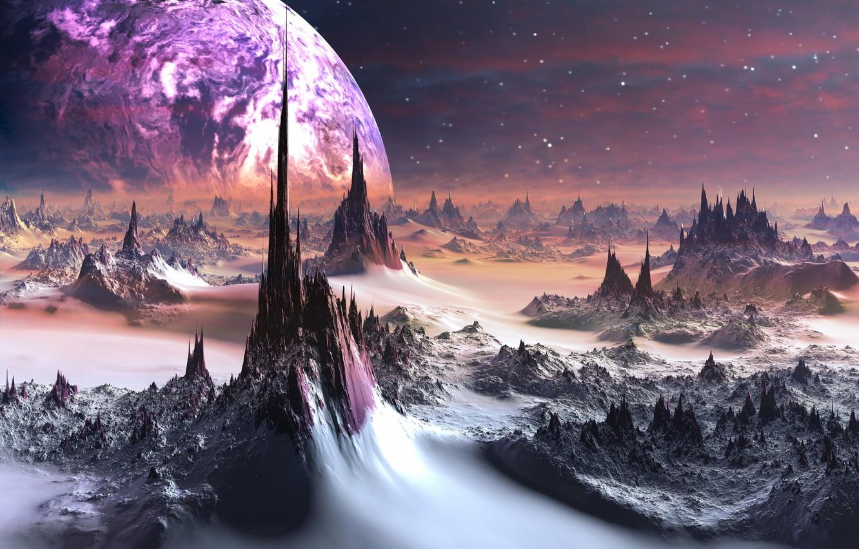 Photo wallpaper fog, rocks, planet, stars