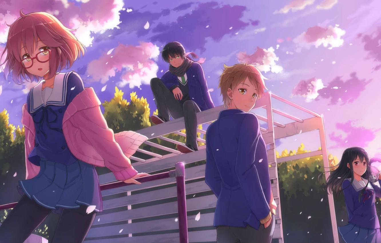 Photo wallpaper Anime, kyoukai no kanata, Hiromi, NASA, Mirai Kuriyama, Akihito Kambara, Mitsuki, Nase, Playground.