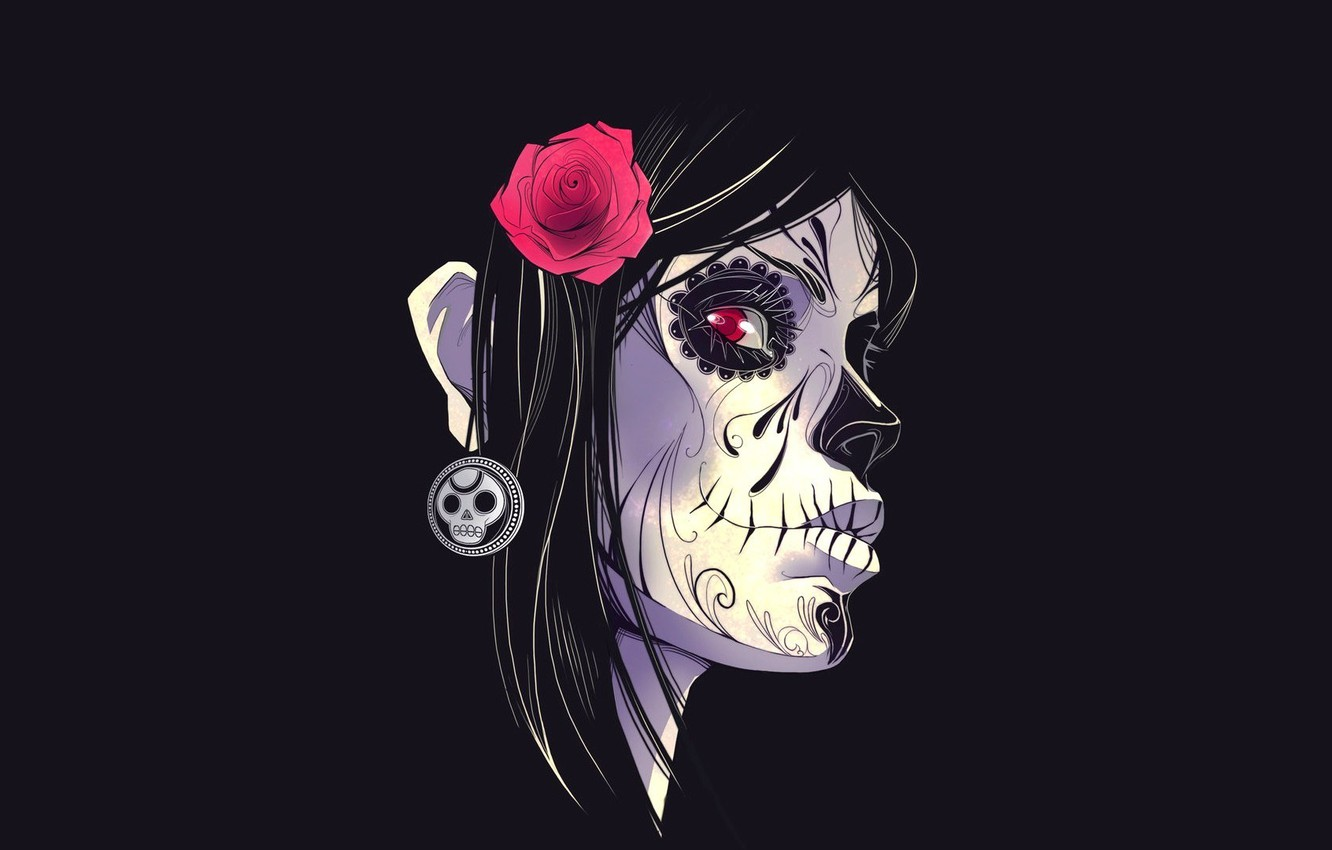 Photo wallpaper flower, background, Girl, paint, Day Of The Dead, Day Of The Dead