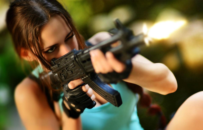 Photo wallpaper shot, machine, gloves, Tomb Raider, Lara Croft, cosplay, Lara Croft