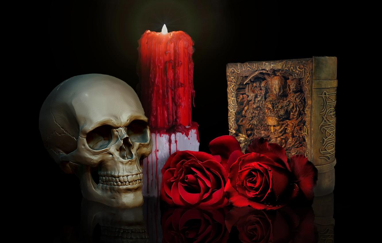 Wallpaper Skull Roses Candle Book Images For Desktop