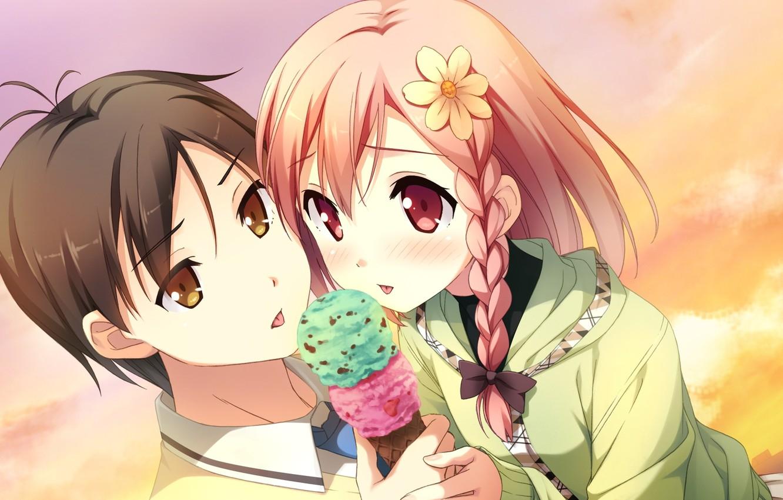 Photo wallpaper the sky, children, Daisy, ice cream, pigtail, visual novel, your diary, yua, tomoki nagamine, by …