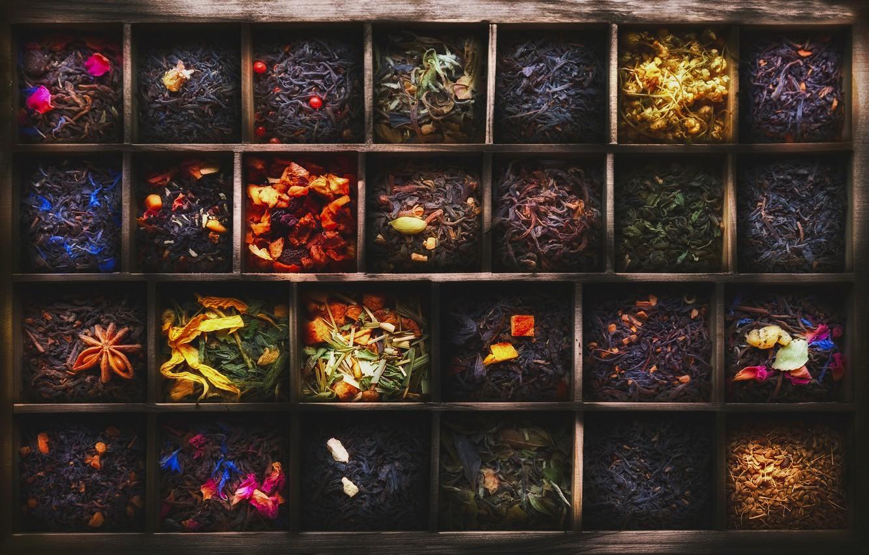 Photo wallpaper tea, box, cell, different varieties, 101 tea