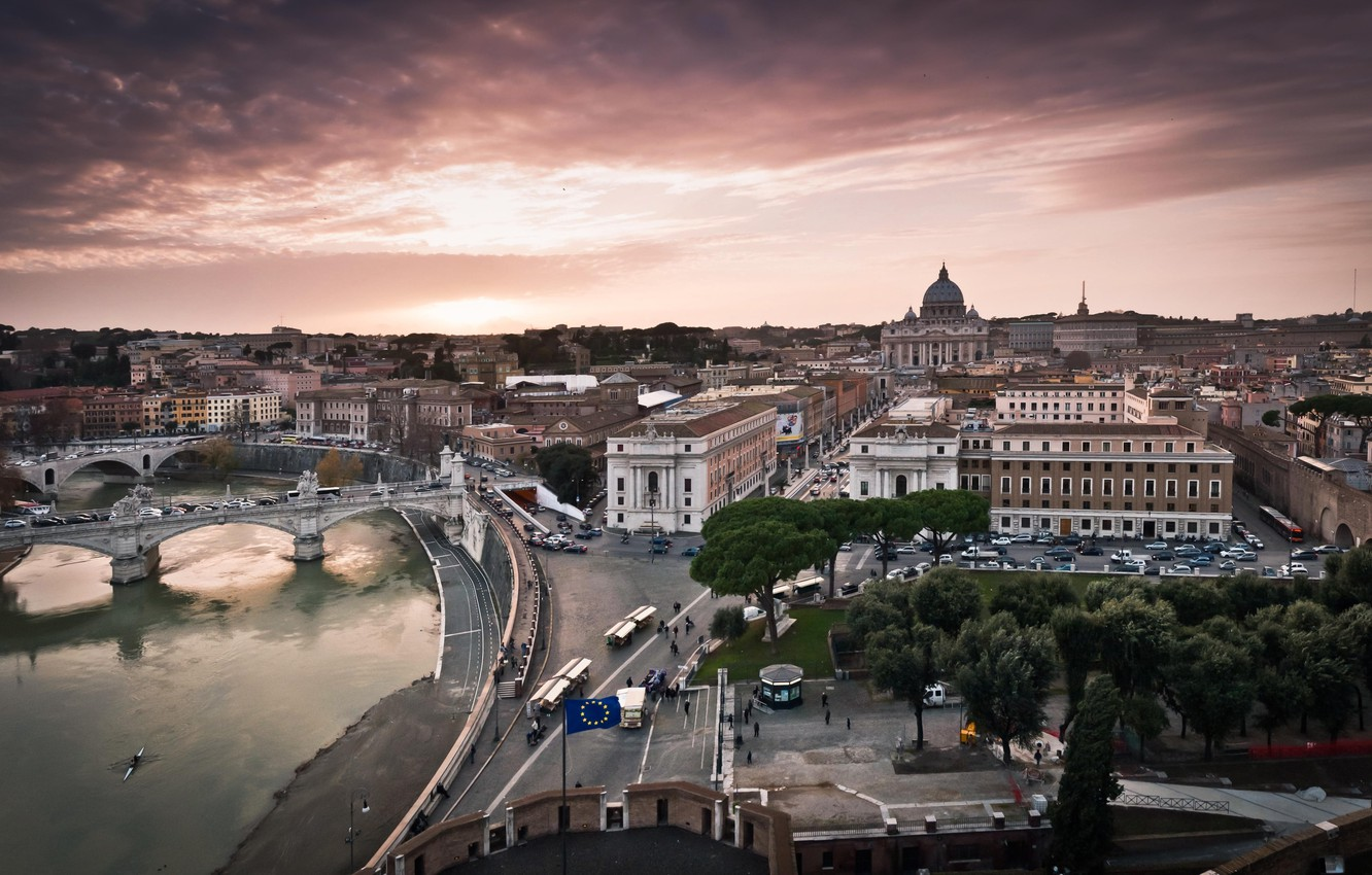 Photo wallpaper road, the sky, water, trees, bridge, the city, people, street, building, home, Italy, the Vatican