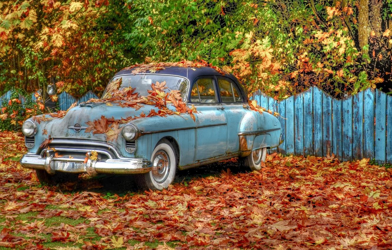 Photo wallpaper autumn, trees, retro, foliage, the fence, HDR, car, «Oldsmobile»