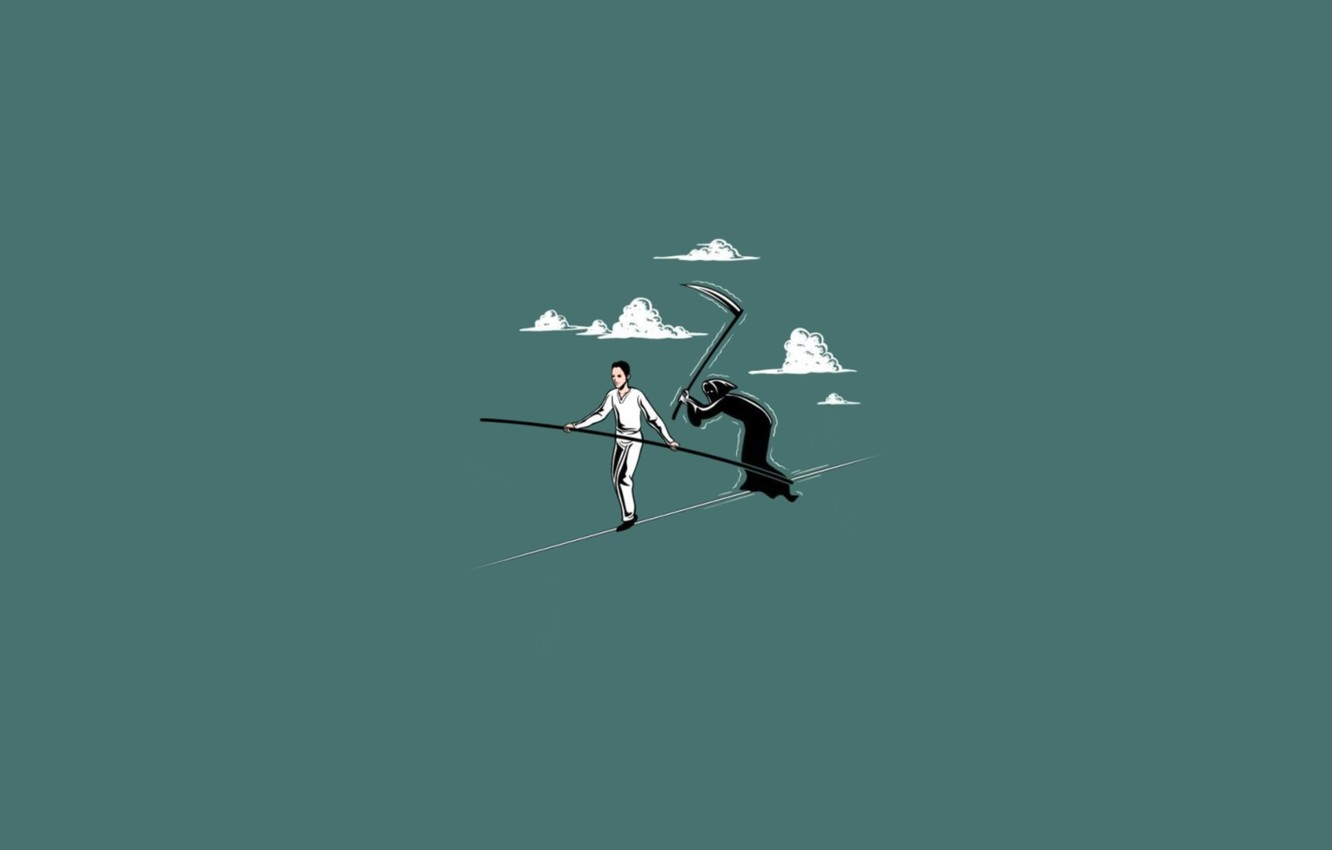 Photo wallpaper death, minimalism, rope, braid, the corpse, catches, tightrope Walker, not long, dead