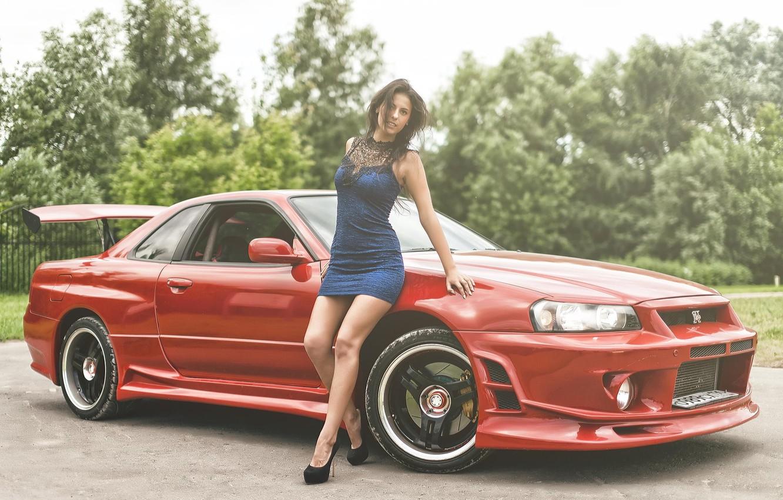 Photo wallpaper Girl, Nissan, Red, Beautiful, Sexy, Model, Skyline, R34, Dress