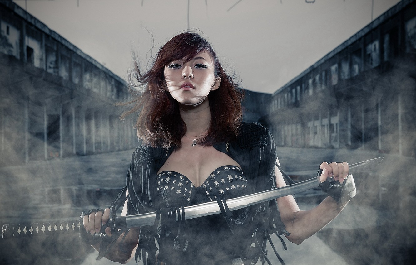 Photo wallpaper girl, sword, Asian
