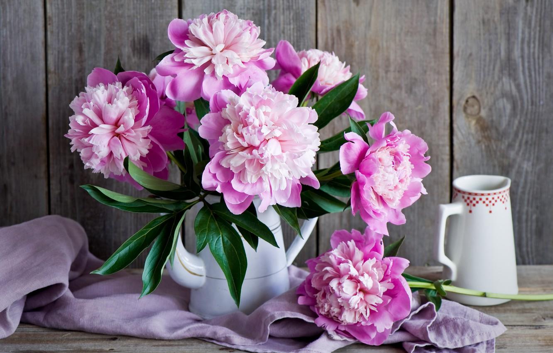 Photo wallpaper bouquet, pitcher, peonies