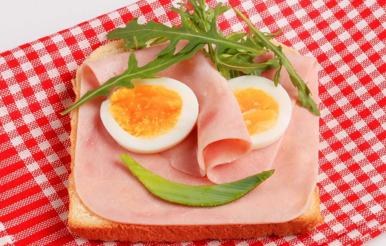 Photo wallpaper eggs, sandwich, napkin, sandwich, ham, arugula