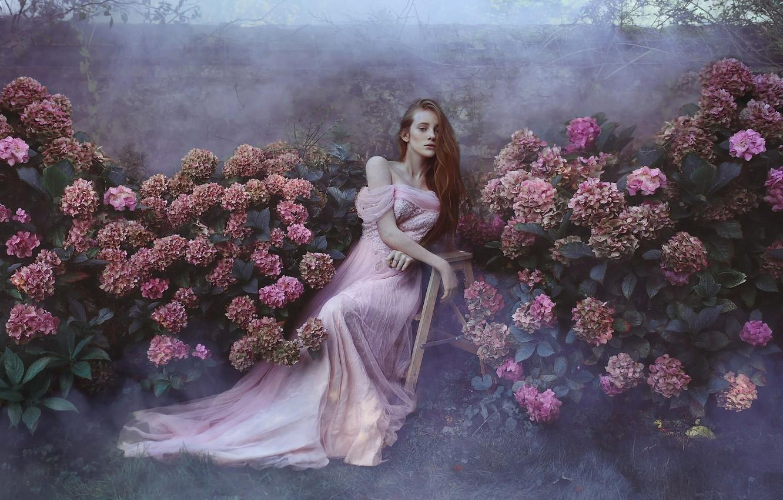 Photo wallpaper flowers, mood, garden, dress, red, redhead, hydrangeas