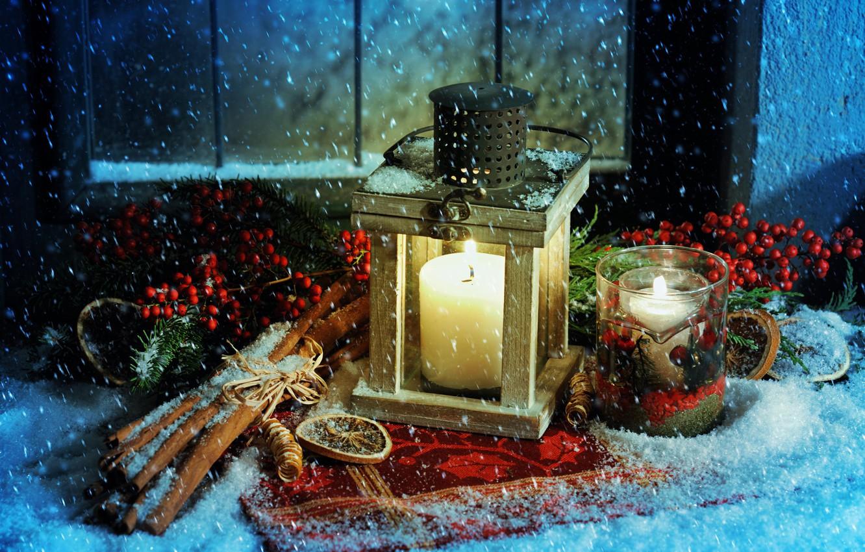 Photo wallpaper snow, candles, Christmas, lantern, New year, cinnamon