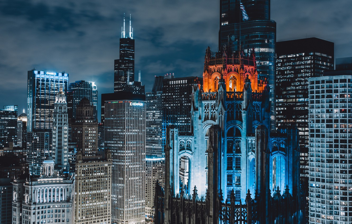 Photo wallpaper night, the city, home, Chicago, USA