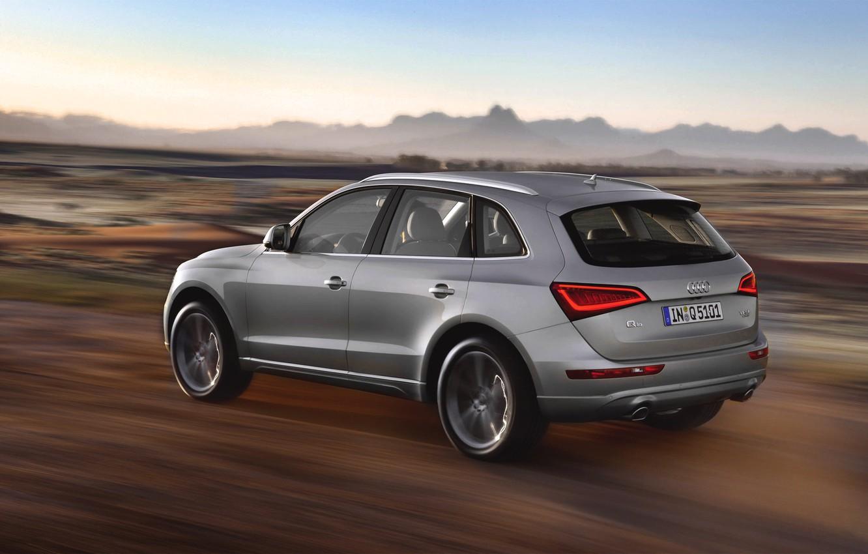 Photo wallpaper Audi, Auto, Machine, Grey, Silver, SUV, Side view, In motion