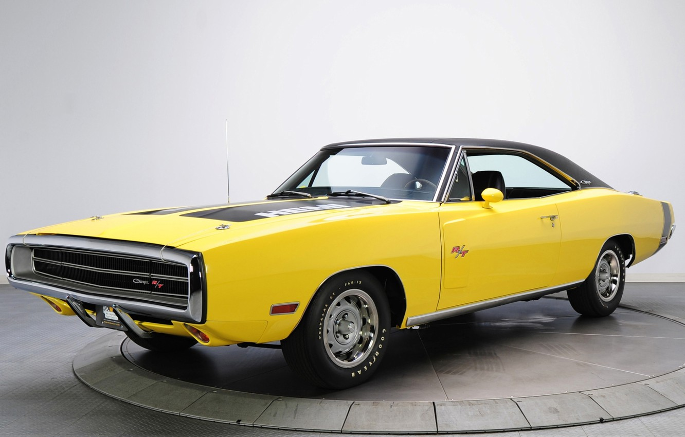 Photo wallpaper yellow, background, Dodge, Dodge, Charger, 1970, the front, Muscle car, Muscle car, 426, Hemi, R …