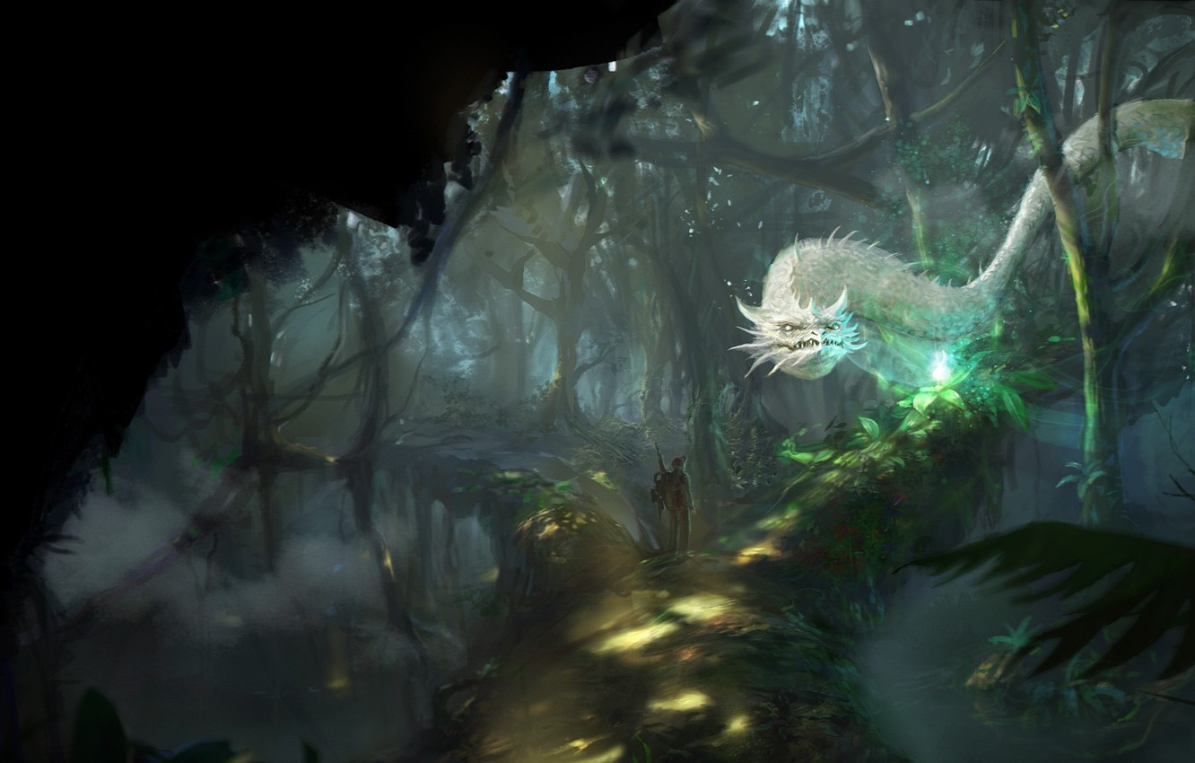 Photo wallpaper forest, trees, nature, fiction, people, art, white dragon