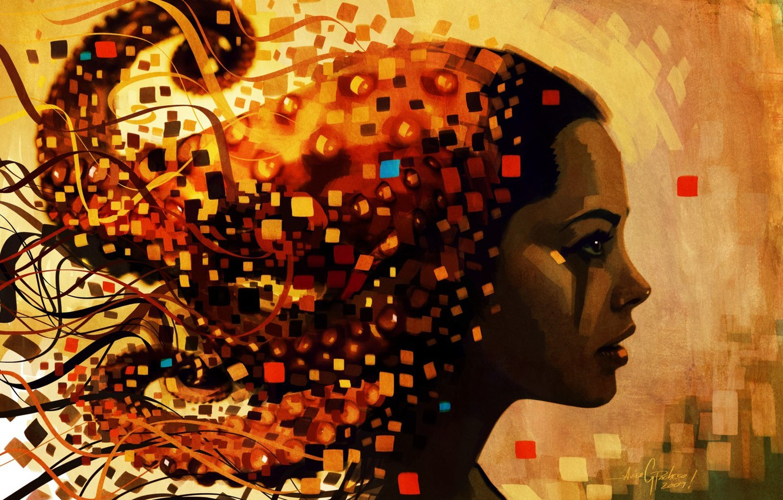 Photo wallpaper face, graphics, color