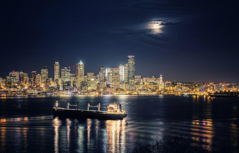 Photo wallpaper ship, building, Bay, Seattle, night city, skyscrapers, Washington, Seattle, Washington, Elliott Bay, Elliott Bay