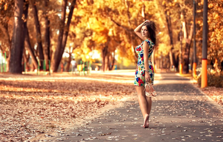 Photo wallpaper autumn, leaves, girl, Park, dress, legs, the beauty, Anton Pechkurov