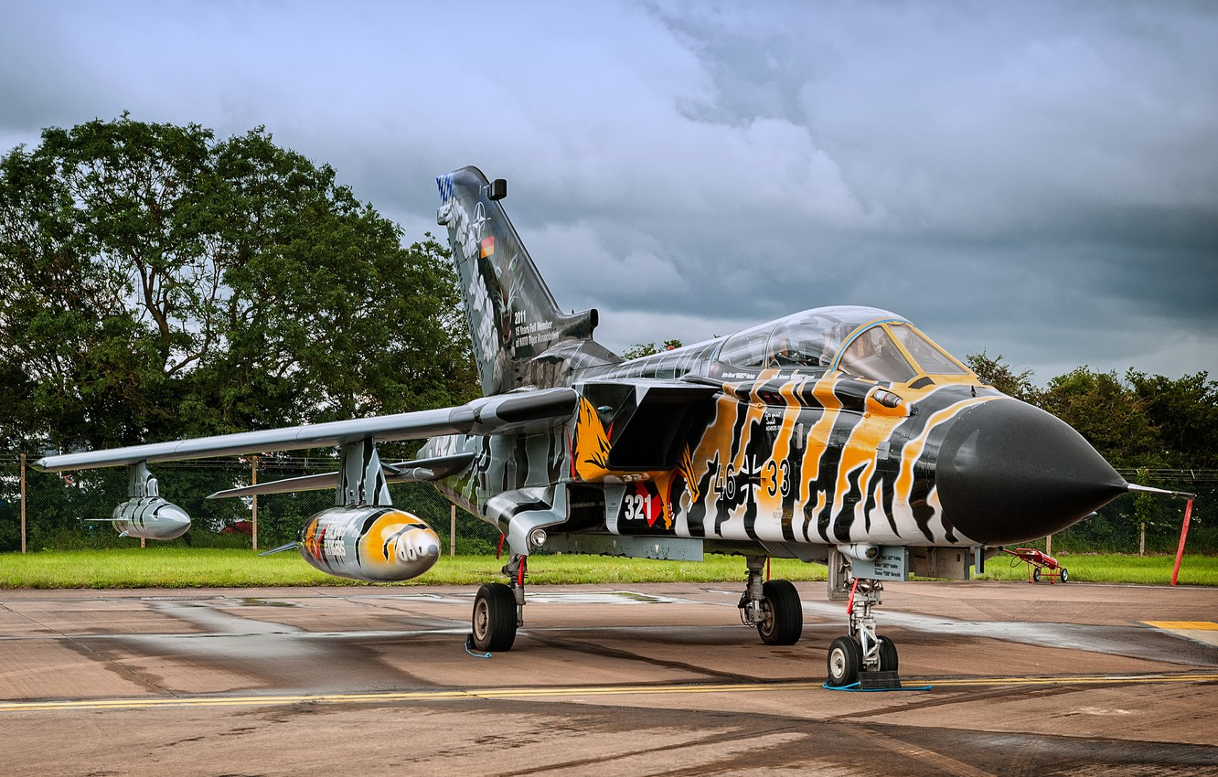 Photo wallpaper the sky, fighter, German, bomber, the airfield, Panavia Tornado