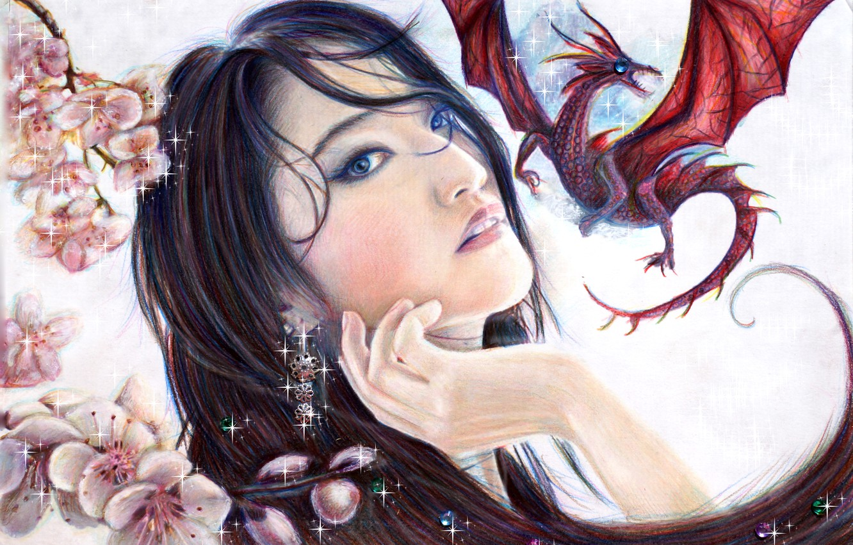 Photo wallpaper look, girl, dragon, beauty, art, Mulan