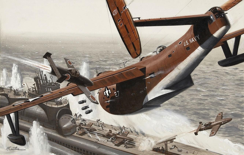 Photo wallpaper sea, the plane, war, submarine, American, Japanese