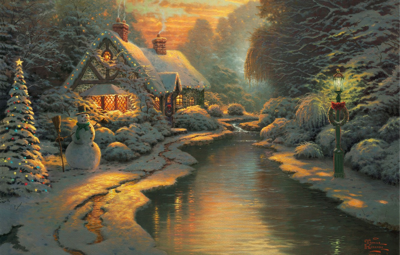 Photo wallpaper forest, snow, lights, figure, winter, lantern, house, snowman, tree, river, painting, Christmas, Landscapes, fabulous, New …