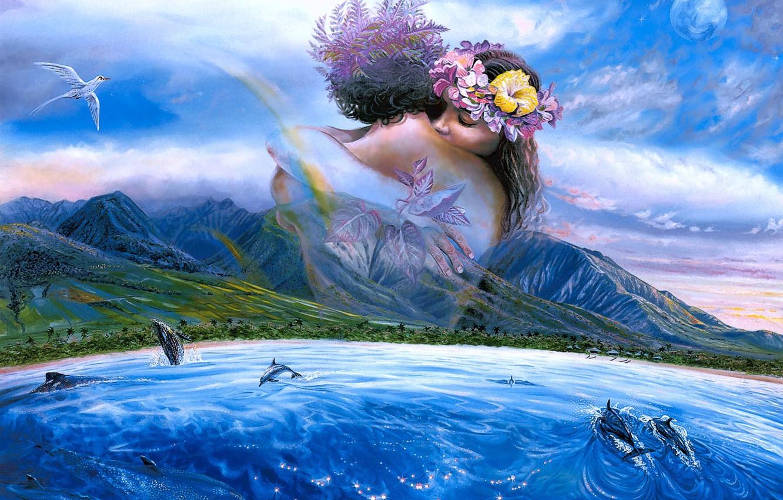 Photo wallpaper sea, mountains, palm trees, bird, shore, figure, pair, dolphins, lovers, painting, seascape, Steve Sundram, Held …