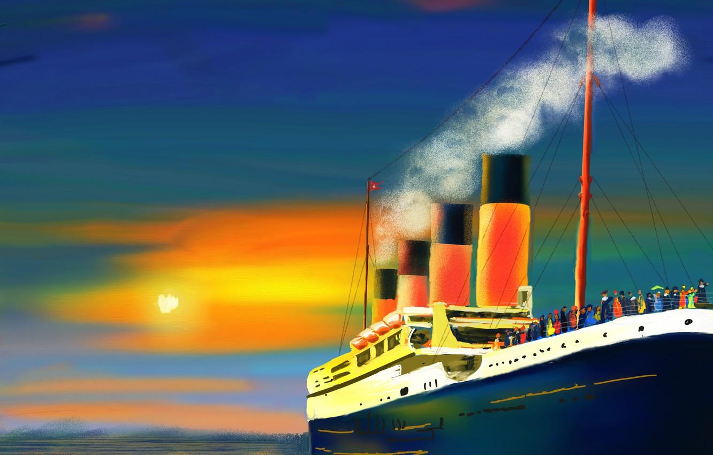Photo wallpaper sea, the sun, smoke, picture, pipe, passengers, ship