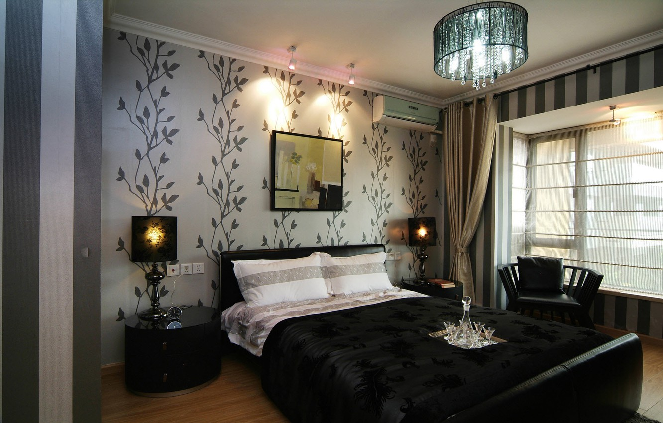Photo wallpaper design, style, lamp, bed, interior, picture, chair, chandelier, bedroom