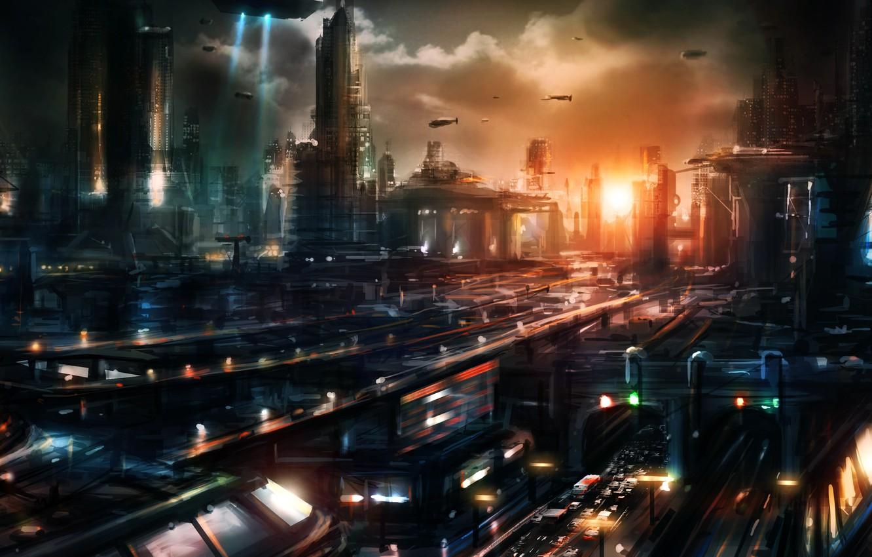 Photo wallpaper sunset, the city, transport, building, ships, art, megapolis