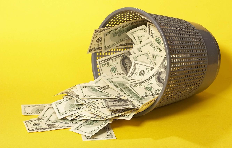 Photo wallpaper money, dollars, the bucks, Bucket, urn