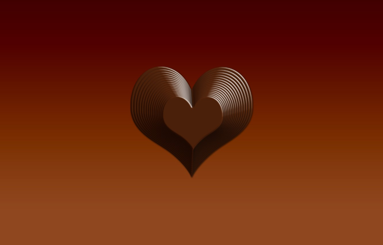 Photo wallpaper Wallpaper, chocolate, minimalism, Heart, figure, the volume