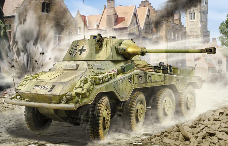 Photo wallpaper Figure, Puma, German, Heavy, Armored car, Heavy armored reconnaissance vehicle (5cm), Sd.Car.234/2, 50 mm KwK …